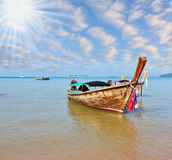 Beautifully decorated native boat Longtail Stock Photos