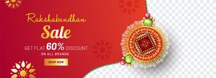 Beautifully decorated Rakhi, Indian brother and sister festival. Raksha Bandhan concept. Sale promotion banner design Stock Images