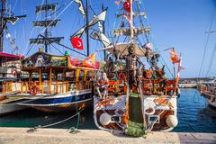Beautifully decorated sailboats,   Alanya, Turkey Stock Image
