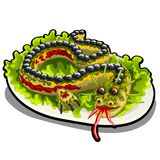 Beautifully decorated salad in the form of a dragon. The restaurants signature dish isolated on a white background vector illustration