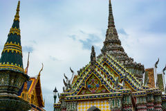 Beautifully decorated spires at the historic Grand Palace in Bangkok, Thailand Stock Images