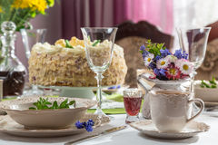 Beautifully decorated table with cake Stock Photography