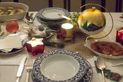Beautifully decorated christmas table Stock Images