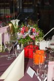 Beautifully decorated table in the restaurant Royalty Free Stock Image