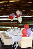 Beautifully decorated table for a wedding celebration in a restaurant Stock Photography