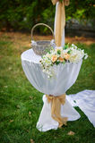 Beautifully decorated table for the wedding ceremony Stock Photo