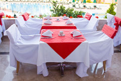 Beautifully decorated tables. For many peoples outdoors Royalty Free Stock Photo
