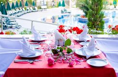 Beautifully decorated tables Stock Photography