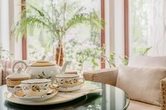 Beautifully decorated tea table Royalty Free Stock Photography