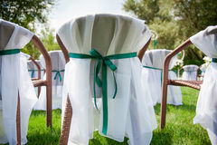 Beautifully decorated wedding reception outdoors Royalty Free Stock Image