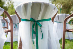 Beautifully decorated wedding reception outdoors Royalty Free Stock Images