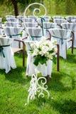 Beautifully decorated wedding reception outdoors Stock Image