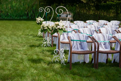 Beautifully decorated wedding reception outdoors Stock Photography