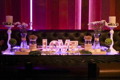 Romantic table for weddings royalty free stock photography