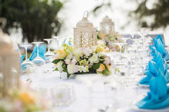 Beautifully decorated wedding table. At garden royalty free stock photo