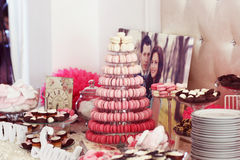 Beautifully decorated wedding table with sweets Stock Photos