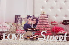 Beautifully decorated wedding table with sweets Royalty Free Stock Photography
