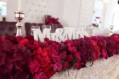Beautifully decorated wedding table with sweets Stock Image