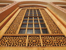 Beautifully decorated window with Muslim art wood carving Stock Photos