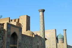 Beautifully dekorerad moské i Samarkand, Uzbekistan Royaltyfri Foto