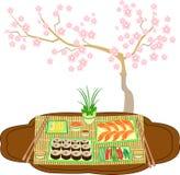 Beautifully dekorerad tabell med sushi och rullar Traditioner av japansk kokkonst En delikat bakgrund skapar en körsbärsröd filia royaltyfri illustrationer