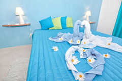 A beautifully designed blue bedroom. Royalty Free Stock Photo
