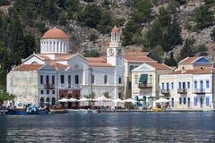 The beautifully designed Greek Agios Georgios Church sitting on waters edge on the Greek island of Kastellorizo. Royalty Free Stock Photography