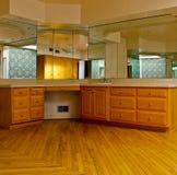 Beautifully designed luxury bathroom. With hardwood floors stock image