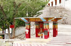 Beautifully designed prayer wheel shed outside Hemis Monastery, Leh Stock Photo
