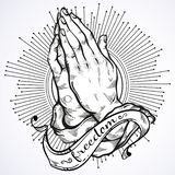 Beautifully detailed human hands folded in prayer. Appeal to the God. Faith and hope. Religious motifs. Academic art. Vector art. Beautifully detailed human stock illustration