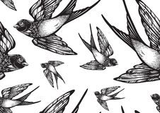 Beautifully detailed vintage style seamless pattern with flying swallow birds . Vector artwork isolated. Elegant tattoo art. Beautifully detailed vintage style stock illustration