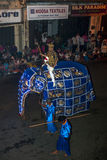 A beautifully dressed ceremonial elephant parades down Colombo Street in Kandy, Sri Lanka during the Esala Perahera. Royalty Free Stock Photo