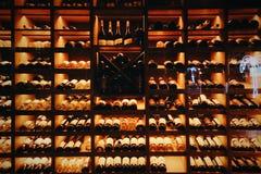 Beautifully highlighted wine bottles stock image