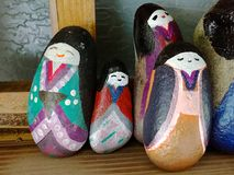 Beautifully Japanese painted stone figures royalty free stock photography