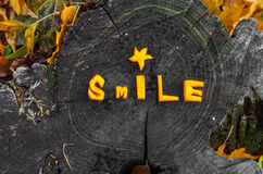 Beautifully laid out the word pumpkin, autumn smile Stock Photo
