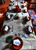 Christmas table with candles, decoration before the meal stock photo