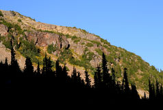 Beautifully Lit Cliffs and Forest. Forested slopes on Mount Callaghan ridges. British Columbia. Canada Stock Images