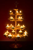Beautifully Lit Lamp. Photo of a Beautifully Lit Lamp with the Hindu Sacred Symbol Om stock photo