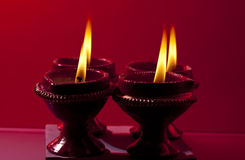 Beautifully lit lamps for Diwali Royalty Free Stock Images