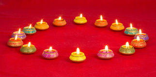 Beautifully Lit Lamps for the Diwali Festival Royalty Free Stock Photo