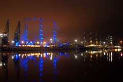 Beautifully lit sailing ships evening Royalty Free Stock Image