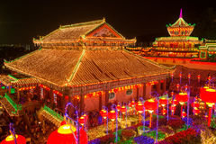 Beautifully lit-up Kek Lok Si temple in Penang during the Chines Royalty Free Stock Photos