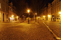 A beautifully lit up street of Czech Republic at night Royalty Free Stock Photos
