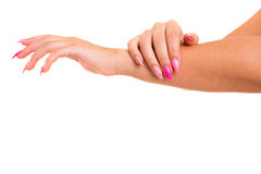 Beautifully manicured hands royalty free stock photos