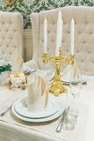 Beautifully organized event - served banquet table closeup Royalty Free Stock Image