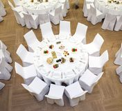 Beautifully organized event - served banquet tables Royalty Free Stock Photos