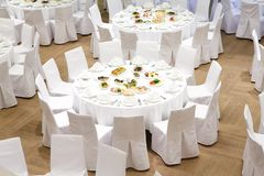 Beautifully organized event - served banquet tables stock image