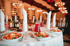 Beautifully organized event - served banquet tables ready for guests Stock Photography