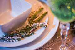 Beautifully organized event - served banquet tables ready for guests Royalty Free Stock Photos