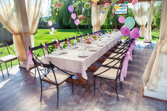 Beautifully organized event - served festive table Royalty Free Stock Photos